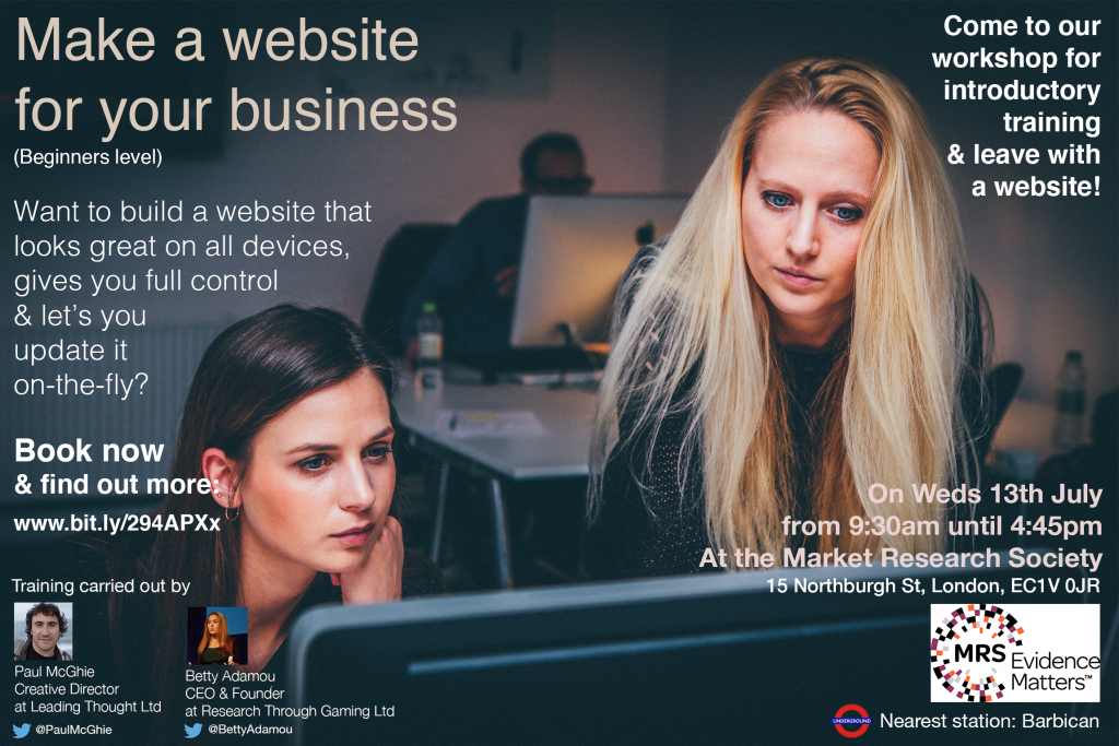 Make a website for your business market research society betty adamou paul mcghie