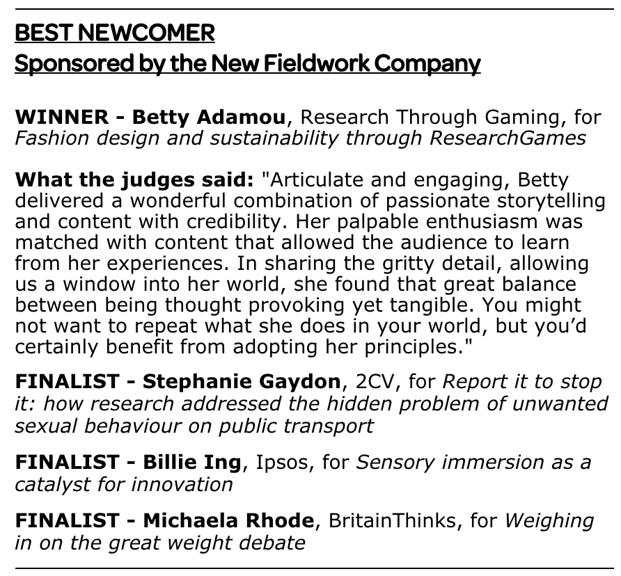 What the judges said about Betty Adamou's presentation