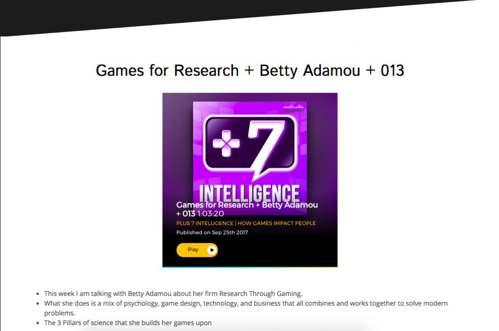 Image of +7 intelligence podcast logo for Betty Adamou Research Through Gaming interview with Ches Hall