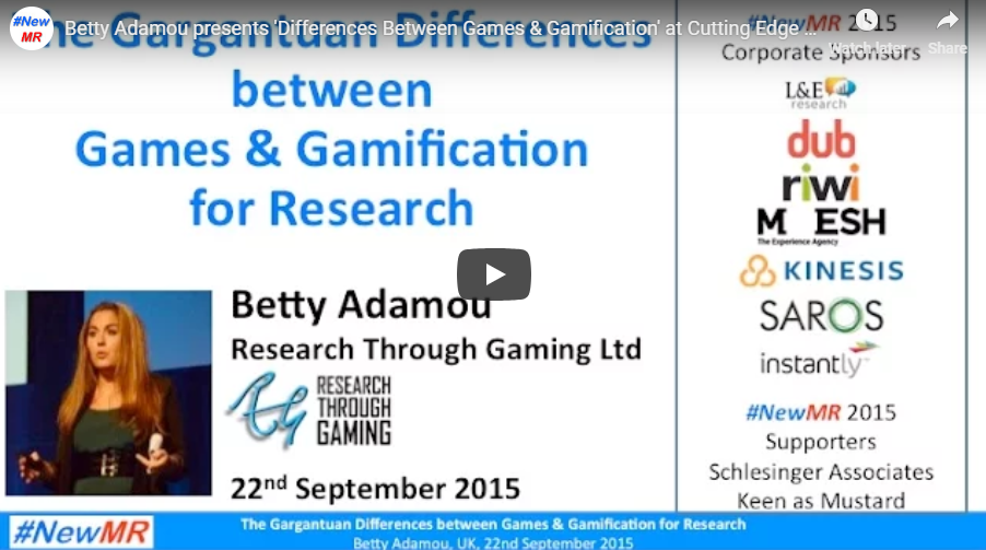 NewMR Webinar: The Gargantuan Differences Between Games & Gamification for Research